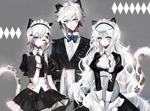 Rating: Safe Score: 67 Tags: animal_ears apron aqua_eyes arknights bow braids catgirl cliffheart_(arknights) gray gray_eyes headdress long_hair maid male moemoe3345 pramanix_(arknights) short_hair silverash_(arknights) suit tail tie waitress white_hair wink wristwear User: otaku_emmy