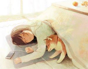Rating: Safe Score: 59 Tags: animal brown_hair dog glasses hinata_(lipcream) kotatsu original phone sleeping User: mattiasc02