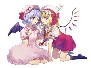 Rating: Safe Score: 36 Tags: 2girls blue_hair blush bow dress flandre_scarlet food hat kneehighs misha_(hoongju) pocky purple_eyes remilia_scarlet short_hair shoujo_ai skirt touhou vampire white wings User: RyuZU