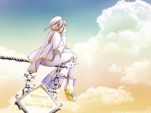 Rating: Safe Score: 18 Tags: amano_kozue aria clouds hat mizunashi_akari sky uniform User: Oyashiro-sama