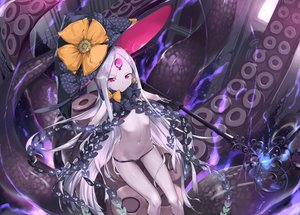 Rating: Safe Score: 62 Tags: abigail_williams_(fate/grand_order) bow fate/grand_order fate_(series) flat_chest gray_hair hat loli long_hair magic navel purple_eyes rubellent staff tentacles topless weapon witch_hat User: RyuZU