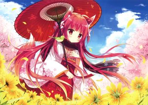 Rating: Safe Score: 90 Tags: animal animal_ears bird blush cherry_blossoms clouds flowers foxgirl japanese_clothes long_hair petals red_eyes red_hair scan scarf shiro_mochi_sakura sky tail umbrella User: RyuZU