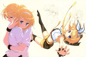Rating: Safe Score: 76 Tags: dmyo kagamine_len kagamine_rin scan thighhighs vocaloid white User: Wiresetc