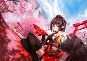 Rating: Safe Score: 46 Tags: animal bird black_hair blush breasts brown_eyes caesar8149 cherry_blossoms clouds flowers petals shameimaru_aya short_hair shrine sky thighhighs torii touhou tree water wings User: luckyluna