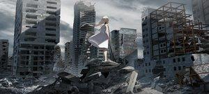 Rating: Safe Score: 41 Tags: blonde_hair building city clouds dress long_hair original ruins sky summer_dress swav tattoo techgirl User: BattlequeenYume