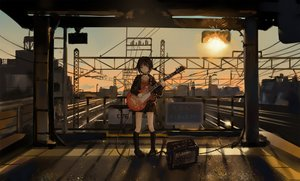 Rating: Safe Score: 75 Tags: catzz choker guitar instrument kneehighs original short_hair skirt sunset train User: FormX