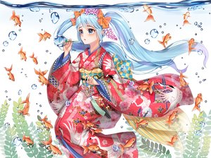Rating: Safe Score: 48 Tags: animal aqua_eyes aqua_hair blush bubbles fish hatsune_miku japanese_clothes kimono long_hair twintails underwater vocaloid water xlavhzhr04 User: RyuZU