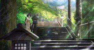 Rating: Safe Score: 66 Tags: black_hair brown_eyes dress nasu original scenic shade short_hair stairs tree User: RyuZU