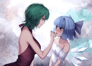 Rating: Safe Score: 34 Tags: 2girls blue_eyes blue_hair blush bow breasts cirno fairy green_hair jpeg_artifacts kazami_yuuka red-d short_hair touhou wings User: RyuZU