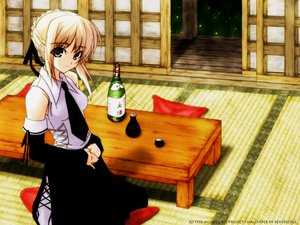 Rating: Safe Score: 6 Tags: artoria_pendragon_(all) blonde_hair braids corset drink fate_(series) fate/stay_night saber shingo_(missing_link) tie type-moon watermark User: Oyashiro-sama