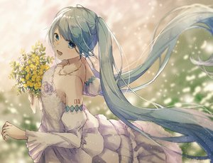 Rating: Safe Score: 46 Tags: aqua_eyes aqua_hair dress flowers haruta_(dndp3458) hatsune_miku long_hair necklace twintails vocaloid wedding_attire User: FormX