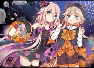 Rating: Safe Score: 68 Tags: 2girls cevio halloween ia one_(cevio) shikino_(sikinonono) vocaloid User: luckyluna