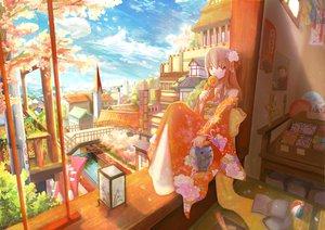Rating: Safe Score: 60 Tags: brown_hair candy cherry_blossoms clouds flowers japanese_clothes kariya_kyou kimono lollipop long_hair original petals purple_eyes sky User: YagamiShinji
