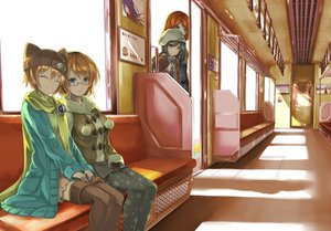 Rating: Safe Score: 95 Tags: blonde_hair blue_eyes brown_eyes glasses hat hoshizora_rin kneehighs koizumi_hanayo love_live!_school_idol_project nishikino_maki orein pantyhose red_hair skirt train yazawa_nico User: Flandre93