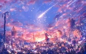Rating: Safe Score: 10 Tags: bou_nin clouds landscape long_hair original polychromatic ponytail ruins scenic sky User: BattlequeenYume