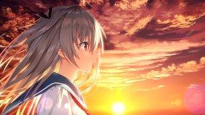 Rating: Safe Score: 61 Tags: atri_(atri_-my_dear_moments-) atri_-my_dear_moments- close front_wing game_cg sunset yusano User: mattiasc02