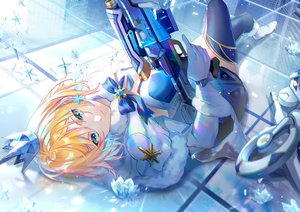 Rating: Safe Score: 50 Tags: ace_force blonde_hair blue_eyes bow crown ekita_xuan gloves gun short_hair tagme_(character) thighhighs weapon User: BattlequeenYume