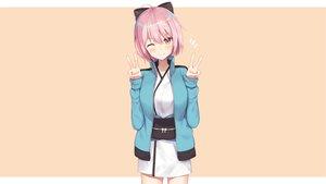 Rating: Safe Score: 64 Tags: blush bow fate/grand_order fate_(series) japanese_clothes kimono okita_souji_(fate) pink_eyes pink_hair short_hair wink yukarite User: Hakha