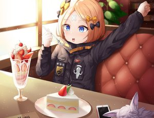 Rating: Safe Score: 34 Tags: abigail_williams_(fate/grand_order) blonde_hair blue_eyes blush bow cake cherry cropped fate/grand_order fate_(series) food fou_(fate/grand_order) fruit loli phone shuvui strawberry User: otaku_emmy
