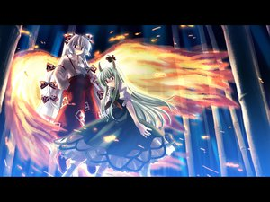 Rating: Safe Score: 29 Tags: dress ex_keine fire fujiwara_no_mokou gray_hair green_hair horns kamishirasawa_keine long_hair red_eyes ribbons touhou wings yuuki_tatsuya User: Oyashiro-sama