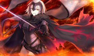 Rating: Safe Score: 79 Tags: armor breasts cape chain elbow_gloves fate/grand_order fate_(series) fire gloves headdress jeanne_d'arc_alter jeanne_d'arc_(fate) short_hair sword weapon wowishi yellow_eyes User: RyuZU