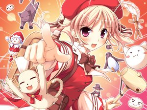 Rating: Safe Score: 50 Tags: agnes_boulange animal blonde_hair blush cat dress game_cg hat ko~cha red_eyes ribbons short_hair shukufuku_no_campanella windmill_oasis User: Tensa