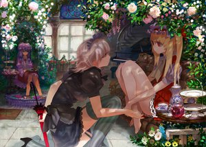 Rating: Safe Score: 180 Tags: barefoot blonde_hair book braids dress drink flandre_scarlet flowers food gray_hair hat headdress instrument izayoi_sakuya maid patchouli_knowledge piano purple_hair red_eyes rose stairs stockings thighhighs tomono_rui touhou umbrella water User: opai