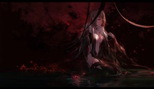 Rating: Safe Score: 123 Tags: breasts brown_hair cleavage consort_yu dark dress fate/grand_order fate_(series) fire flowers long_hair red_eyes reflection signed swd3e2 water User: BattlequeenYume