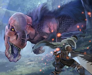 Rating: Safe Score: 51 Tags: anjanath black_hair boots cape forest fuse_ryuuta gloves grass hunter_(armor) monster_hunter monster_hunter:_world night rope short_hair sword tree weapon User: otaku_emmy