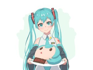 Rating: Safe Score: 15 Tags: blue_eyes blue_hair hatsune_miku long_hair me0w tattoo tie twintails vocaloid User: RyuZU