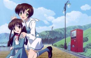 Rating: Safe Score: 8 Tags: 2girls clouds green_eyes ishizuki_koyori ishizuki_mana school_uniform sola User: Oyashiro-sama
