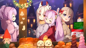 Rating: Safe Score: 28 Tags: ame. animal_ears anthropomorphism ayanami_(azur_lane) azur_lane blonde_hair bow brown_hair building bunny_ears christmas city food gloves group hoodie hug javelin_(azur_lane) laffey_(azur_lane) night ponytail purple_eyes purple_hair red_eyes short_hair twintails z23_(azur_lane) User: otaku_emmy