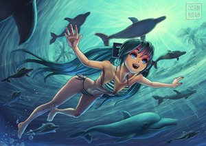 Rating: Safe Score: 56 Tags: animal aqua_hair bikini blue_eyes breasts cleavage fish hatsune_miku long_hair navel ryu_shou swimsuit twintails underwater vocaloid water User: Flandre93