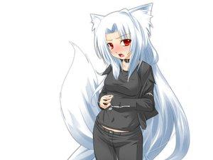 Rating: Safe Score: 125 Tags: animal_ears blush collar foxgirl kazami_karasu red_eyes tail third-party_edit white white_hair User: kisumi