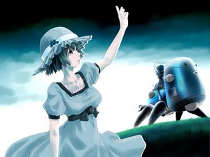 Rating: Safe Score: 41 Tags: black_hair blue_eyes crossover dress ghost_in_the_shell hat poker-face-008 shiina_mayuri short_hair steins;gate tachikoma User: PAIIS