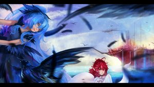Rating: Safe Score: 70 Tags: 2girls animal bird blue_eyes blue_hair dress long_hair pixiv_fantasia pointed_ears red_eyes red_hair reiami User: Flandre93