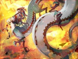 Rating: Safe Score: 40 Tags: brown_hair dragon horns long_hair original pointed_ears red_eyes sopra tattoo User: otaku_emmy