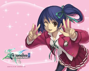 Rating: Safe Score: 18 Tags: ar_tonelico ar_tonelico_ii blue_hair luca_trulyworth nagi_ryou pink seifuku wink User: Oyashiro-sama
