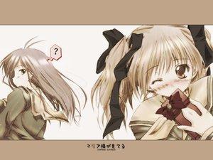 Rating: Safe Score: 3 Tags: 2girls blonde_hair brown_eyes fukuzawa_yumi kamiya_yu maria-sama_ga_miteru ogasawara_sachiko ribbons valentine wink User: Oyashiro-sama
