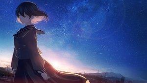 Rating: Safe Score: 55 Tags: mifuru original scenic school_uniform short_hair sky stars User: FormX