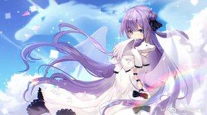 Rating: Safe Score: 48 Tags: anthropomorphism azur_lane blush clouds dress long_hair purple_eyes purple_hair sky unicorn_(azur_lane) watermark wings yuxiantailang User: BattlequeenYume