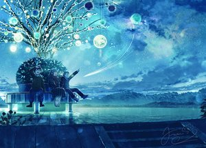 Rating: Safe Score: 60 Tags: fusui male night original scenic sky stairs stars tree User: FormX