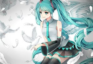 Rating: Safe Score: 42 Tags: animal bird feathers hatsune_miku ling_(vivianling) vocaloid wings User: FormX