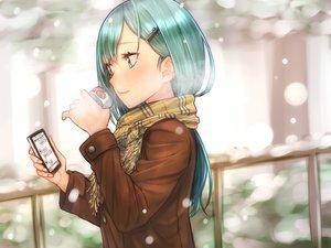 Rating: Safe Score: 170 Tags: anthropomorphism aqua_hair baffu drink green_eyes kantai_collection phone scarf snow suzuya_(kancolle) winter User: Flandre93