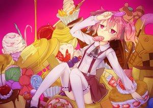Rating: Safe Score: 65 Tags: cherry food fruit inu_x_boku_ss pink_eyes pink_hair pocky roromiya_karuta skirt thighhighs watanuki_banri User: TomomiSuzune