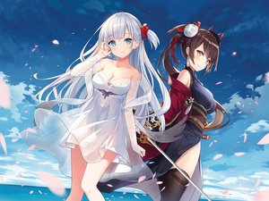 Rating: Safe Score: 74 Tags: 2girls anthropomorphism azur_lane blue_eyes breasts brown_hair cleavage clouds dress hitsukuya japanese_clothes long_hair petals photoshop ponytail shoukaku_(azur_lane) sky sword thighhighs water weapon white yellow_eyes zuikaku_(azur_lane) User: Nepcoheart