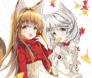 Rating: Safe Score: 25 Tags: 2girls animal_ears autumn blush bow braids brown_hair catgirl cropped gray_hair green_eyes juna leaves long_hair original short_hair tail twintails User: otaku_emmy