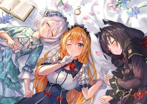 Rating: Safe Score: 100 Tags: animal_ears black_hair blush book bow dress flowers gloves goth-loli gray_hair headdress isaya_(pixiv4541633) karyl lolita_fashion long_hair natsume_kokoro orange_hair pecorine petals pointed_ears princess_connect! short_hair sleeping wink User: RyuZU