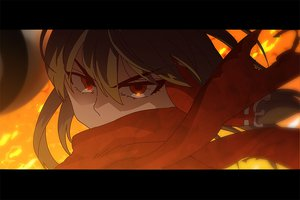 Rating: Safe Score: 27 Tags: brown_hair fire hakurei_reimu jpeg_artifacts red_eyes scarf touhou yumiya User: 02