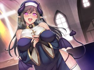 Rating: Safe Score: 63 Tags: blush breast_hold breasts brown_hair demon headdress horns long_hair nun original pink_eyes pointed_ears succubus tail thighhighs wings y_umiharu User: sadodere-chan